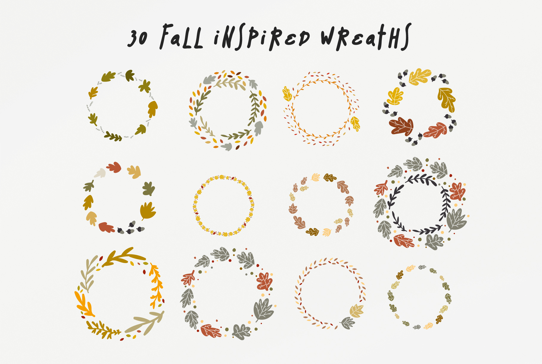welcome fall  30 fall vector wreaths pack